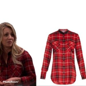 Vince leather trim red plaid shirt blouse top